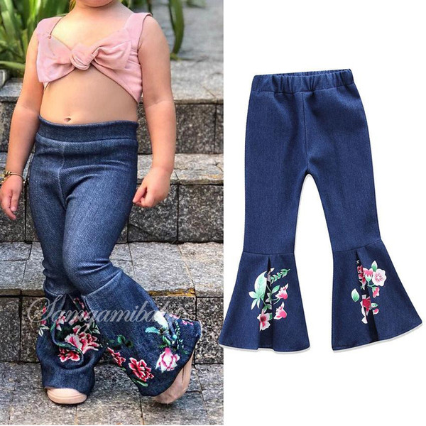 Baby Girls Jeans Pants 2018 New Spring Fashion Pleated Denim Flower Floral Embroidery Long Boot Cut Pants Children Denim Pants