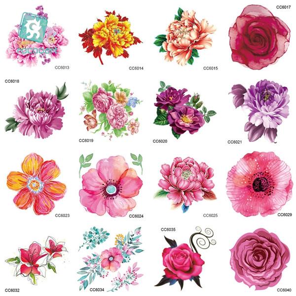 Acheter Mb Cc Fleurs Couleur Fleurs Floral Pivoine Designer Temporaire Tatouage Autocollant Body Art Transfert De L Eau Faux Taty Pour Visage Tatoo De