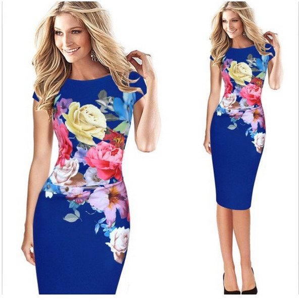 Fashion women floral print sleeveless spit cocktail party bodycon midi dress plus size S-5XL free shipping