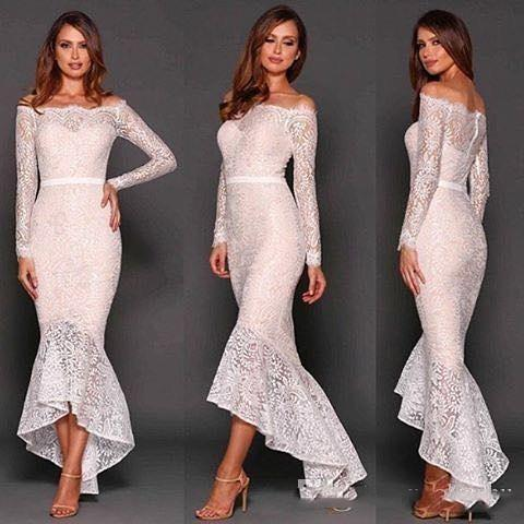 Bateau Mermaid Long Sleeves High Low Lace Sexy Elegant Beautiful Evening Dress Prom Dresses New Coming