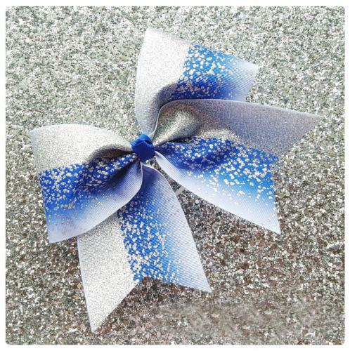 2018 NEW Blue Silver Glitter Ombre Cheer Bow Cheerleading Dance Hair Bow 7.5inch hair bow with Elastic rubber band Hair accessories 12pcs