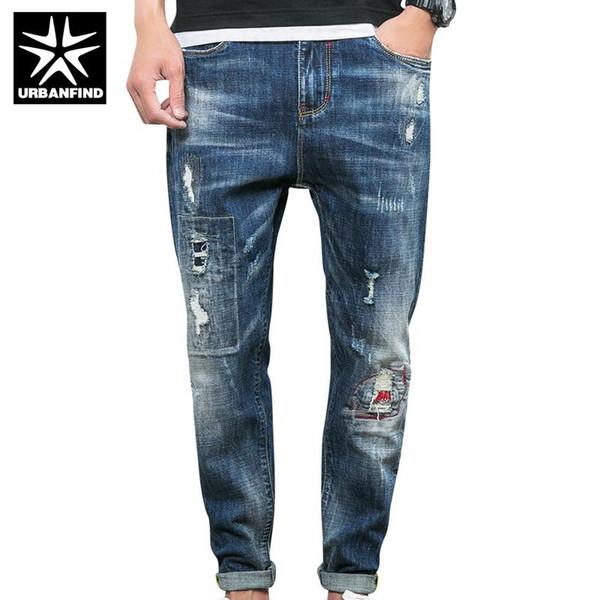 Wholesale-Fashion New Men Jeans Water Wash Long Length Man Denim Pants Size 28-36 Korean Style Men Pencil Trousers Male Low Jeans