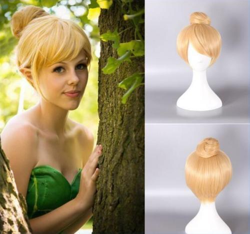 Envío gratis nueva peluca de la imagen de moda de alta calidad mujeres niñas pelucas de cabello corto rubio peluquería Peter Pan hada Campanilla peluca Cosplay Bell