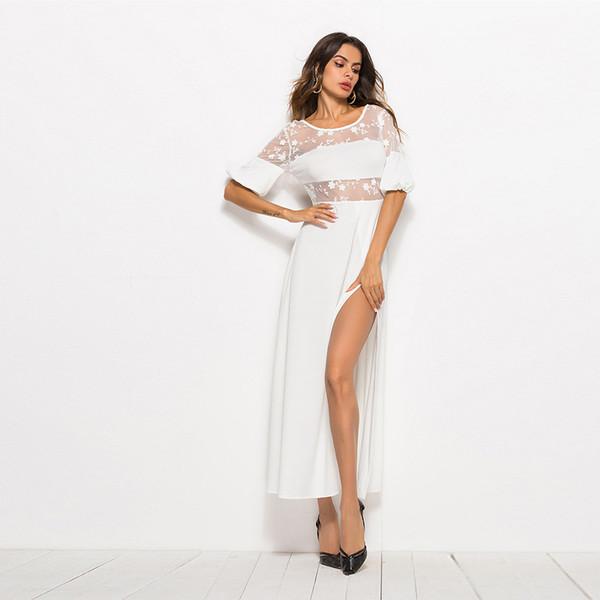 Neue Spitze, reines Seidenkleid, Nachthemd, langes Kleid T1225