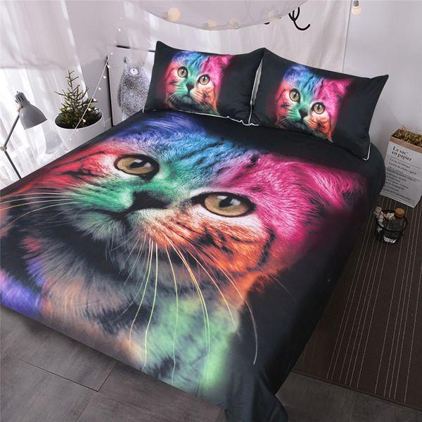 Cat Bedding Set for Girls Boys Cute Colorful Cat Pattern Bedspread 3 Piece Bold Color Black Animal Duvet Cover Set