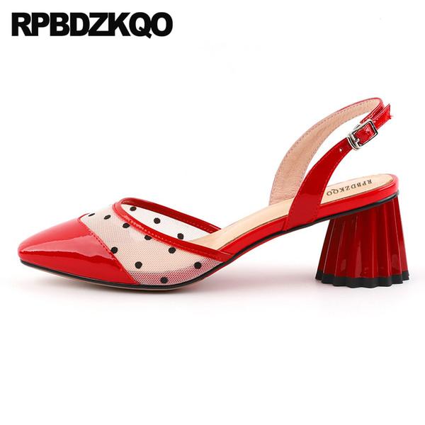 Pvc Zapatos Mujer Transparente Sandalias Altos Chunky Compre Rojas Pies Cuero Tacones Cerrados Genuino 2018 Primavera Polka Dot Correa Bombas De c35TlFKu1J