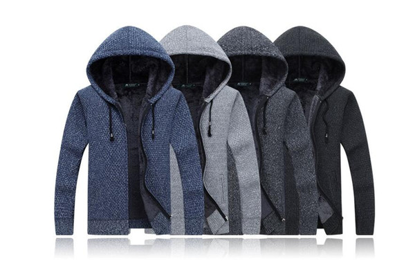 Maglioni di lana da uomo di marca Cardigan maschile solido Moda Uomo Abbigliamento invernale Plus Ispessimento in velluto Con cappuccio Maglione di vendita caldo con cappuccio