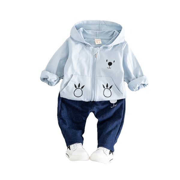 Little Baby Zipper Hooded Coat Set Boys Autumn Outfits Girls Fashion Sportswear Kids Spring Casual Clothing Cute Infant Babies Bear Jacket