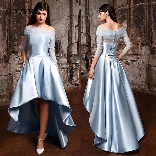 Hi-lo Bridesmaid Dresses Short Front Long Back Blue Satin Party Gowns Boat Neck Off Shoulder 3/4 Sleeves Formal Dress For Wedding