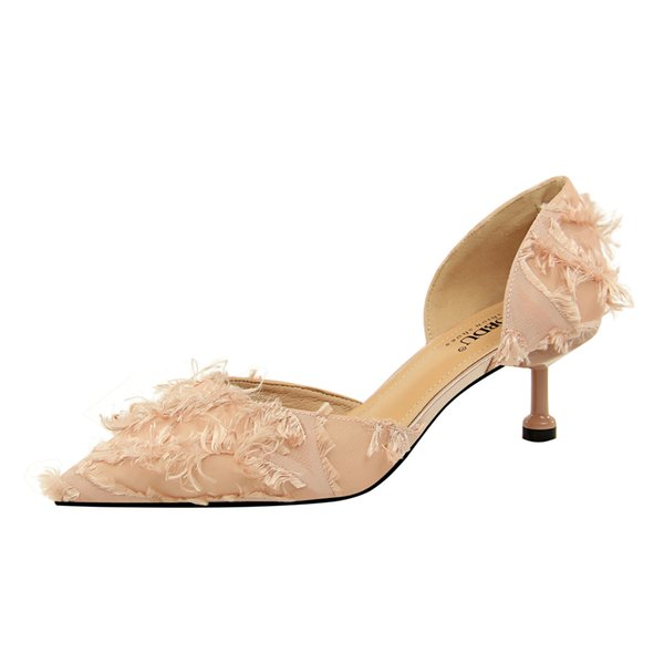 Women Black PINK feather Poined Toe Women Pumps,60mm Fashion lRed Bottom High Heels Shoes for Women Wedding shoes