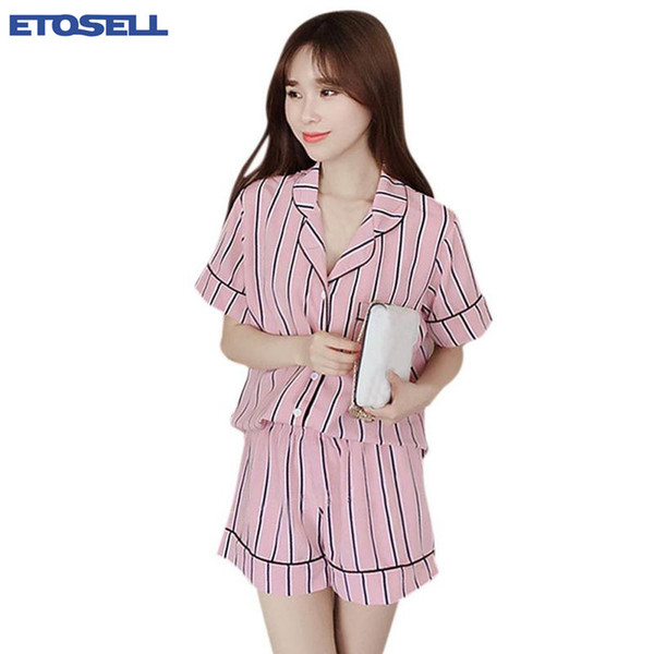 New Arrival Fashion Woman Summer New Casual Striped Turn-Down Collar Sleepwear Two-Piece Set Tops + Shorts Pajamas Suit