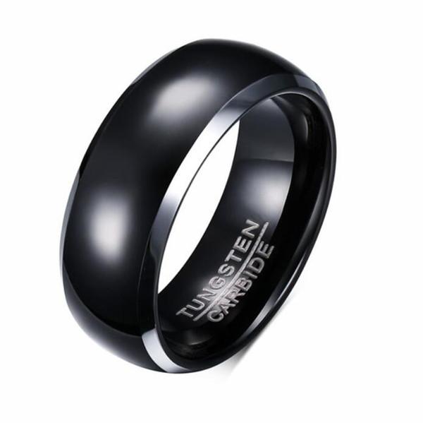 ZHF Jewelry Mens Rings BASIC 8MM Bandas de boda Negro puro Carburo de tungsteno Anillo de compromiso para hombres Joyería Bague Homme