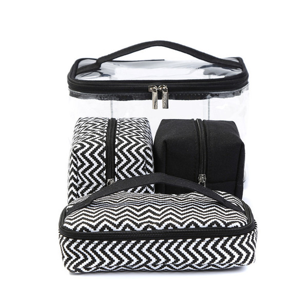 Multi-function Cosmetic Bag Transparent PVC Portable Combined four piece suit Wash bags Travelling handbag Receive Canvas bag