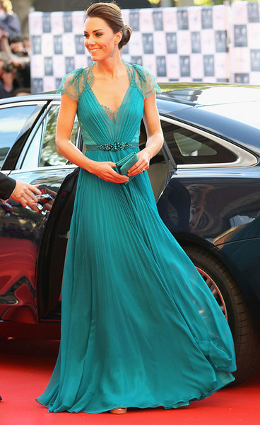 Kate Middleton In Jenny Packham Sheer Lace Chiffon Evening Dresses With Cap Sleeves Evening Gowns Formal Celebrity Red Carpet Dresses HY4127