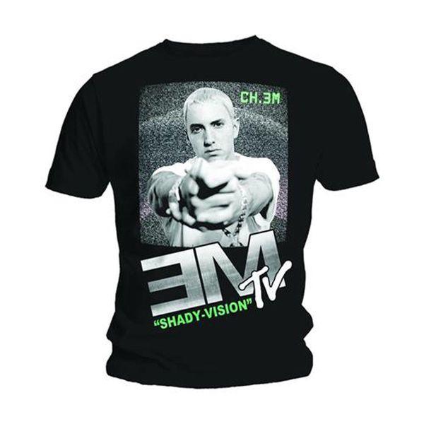 Eminem EM TV Slim Gölgeli Marshall Mathers Resmi Tee T-Shirt Mens Unisex