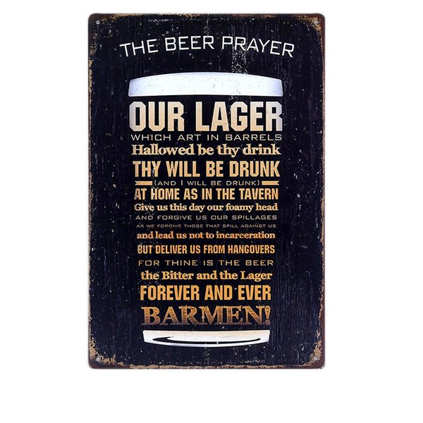 The Beer Prayer Vintage Metal Tin Signs Bar Pub Cafe Home Kitchen Wall Decor Art Poster Retro Plaque Metal Painting Ajax N022 Y18102409