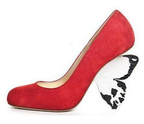 Sexy Butterfly Heels Pumps For Women Round Toe Strange Heel Women Party Bride Dress Shoes Big Size Red Pink Suede Platform Pumps Wholesale