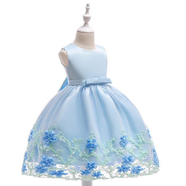 Flower Girls Dresses for Pageant High Neck A Line Tulle Puffy Lace Appliques Floor Length Kids Evening Gowns Children