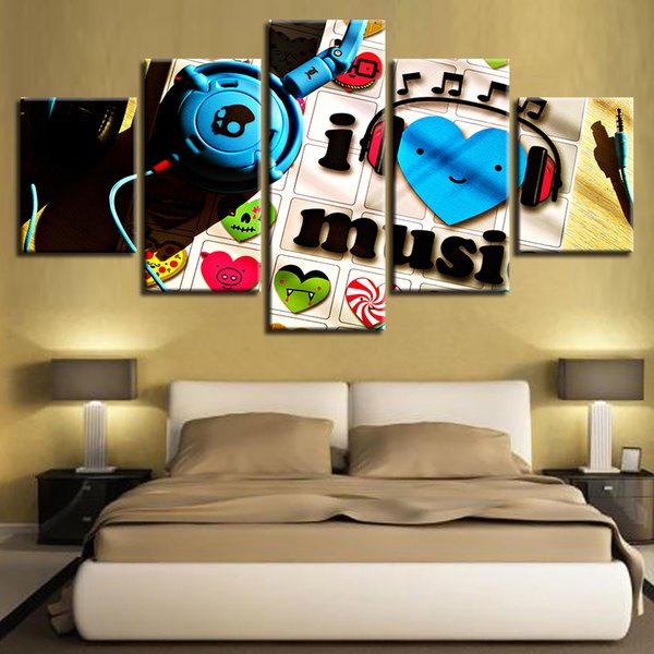 Canvas Painting Wall Art HD Printed Music Lover Pictures 5 Pieces I Love Music Poster Modular Home Decor For Living Room Framed
