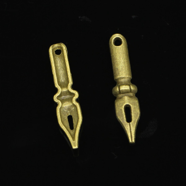 120 pcs liga de zinco encantos Antique Bronze chapeado caneta de tinta do vintage encantos para fazer jóias DIY Handmade pingentes 32 * 7 mm