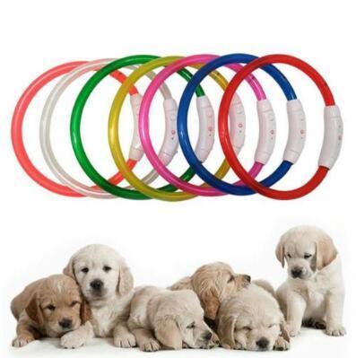 Dog Training Collar LED Outdoor Luminous Cut USB Charge Pet Dog Collars Light Adjustable LED Flashing Dog Collar CCA8858 100pcs