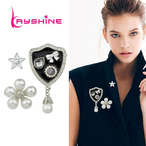 Wholesale- Kayshine 3pcs/set Luxury Style White Black Enamel with Rhinestone and Simulated Pearl Flower Star Bowknot Medal Brooch Jewelry