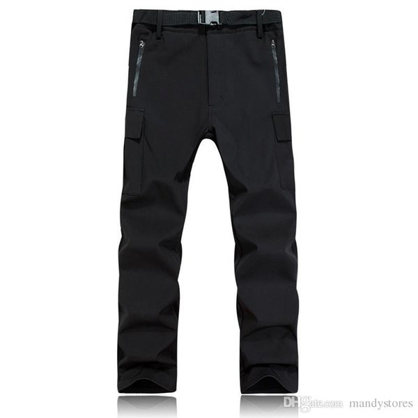 Wholesale- Outdoor Men Charge Style Grasp Sweat Trousers Green Black Warm Windproof Thick Soft Shell Pants Mountaineering Ski Pants Winter
