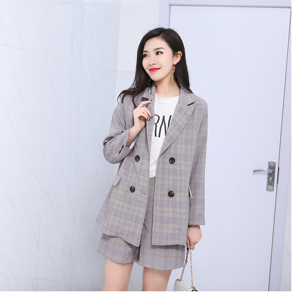 Micro fat mm summer suit 2018 Korean new large size women fat sister shorts Plaid suit tide