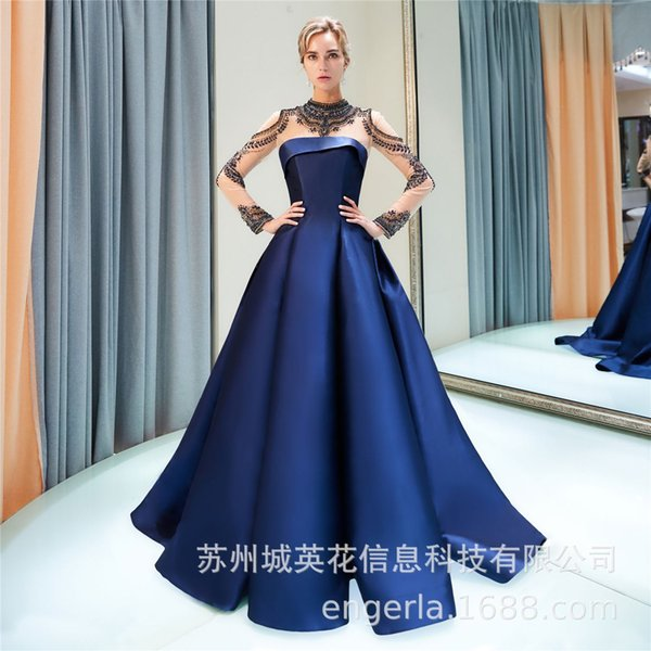 Royal Blue Crystals Sexy 2018 Evening Dresses High Neck Long Sleeves Luxurious Prom Dresses Satin Pageant Formal Party Bridesmaid Gowns