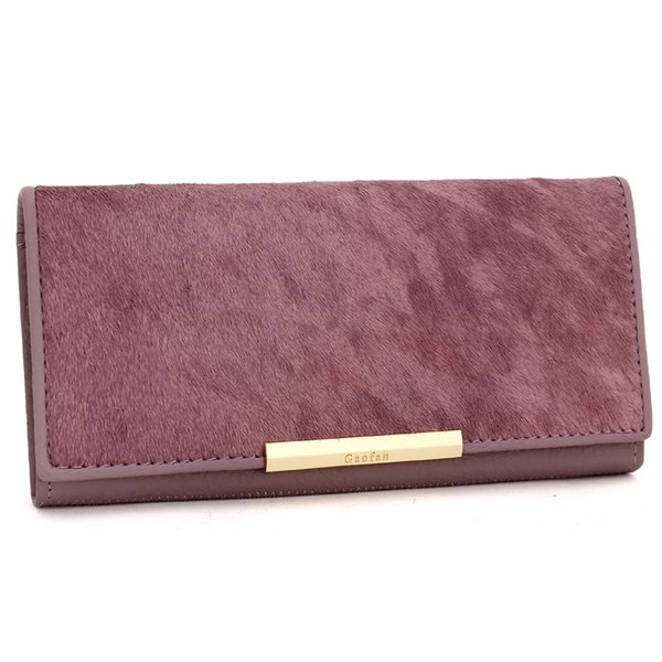 Hot!!! Gao Fan new ladies wallet long section leather sheepskin horse hair ladies hand bag wallet fashion simple trend ladies wallet free sh
