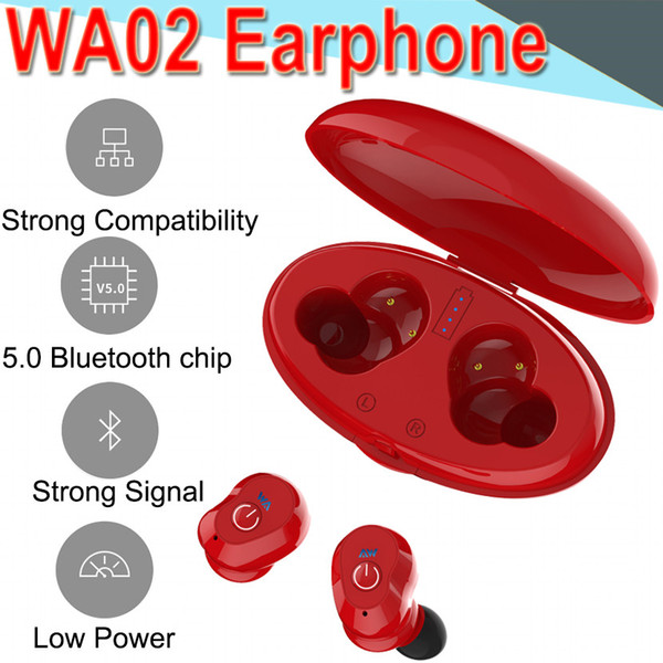 WA02 Business Bluetooth Écouteurs Sans Fil 3D HIFI Stéréo Écouteurs Casque et Power Bank avec Microphone Appels Mains Libres pour 50 Packs