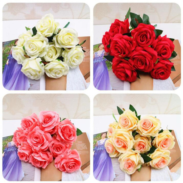 Artificial Flowers Heads Pink Artificial Rose Bud Artificial Flowers For Wedding Decorations Christmas Party Silk Flowers Wholesale 100pcs