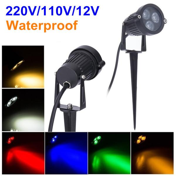 220V 110V Illuminazione da esterni a LED da giardino 3W 9W Lampada da prato impermeabile 12V Paesaggio caldo bianco verde Spike Spot Lights