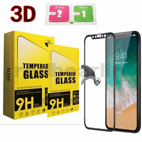 Tempered Glass 3D glass Carbon Fiber Curved Soft Edge Coated Tempered Glass For iPhone X iphone 8 plus Screen Protector with retail box