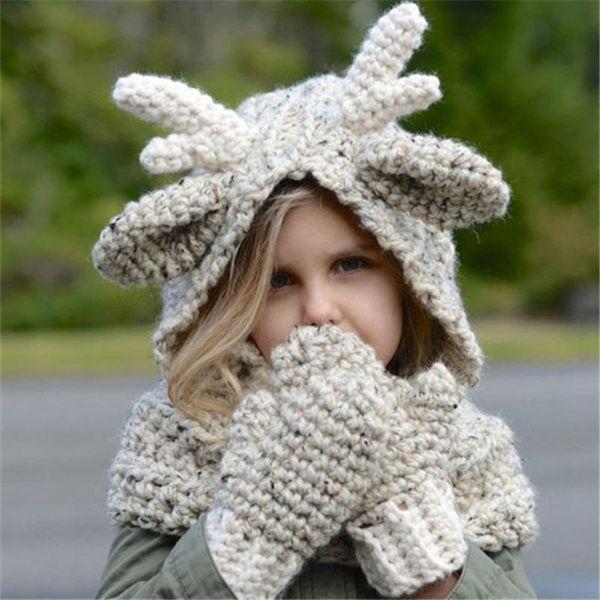 Baby Girls boys Christmas elk knitting Caps+gloves set cartoon 2018 winter Wool cap 2 in 1 children Knitted Crochet hat scarf