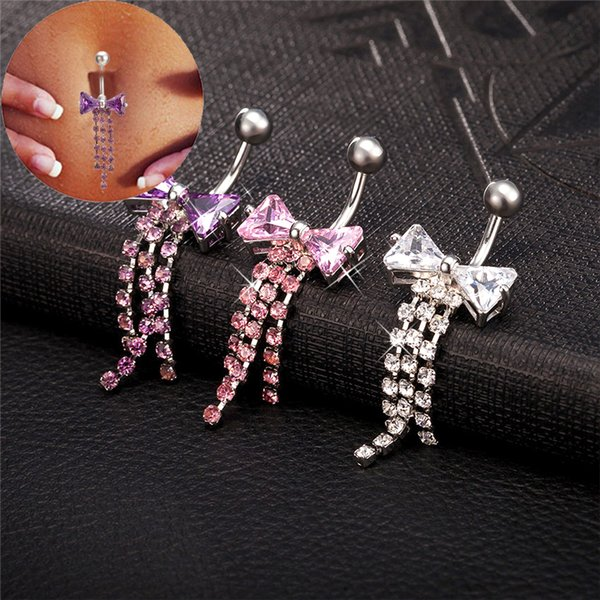 Gussiarro Bow Piercing Jewelr Gold-Color Rings Pink Clear Purple Cubic Zirconia piercing Body Piercing Navel Belly Button