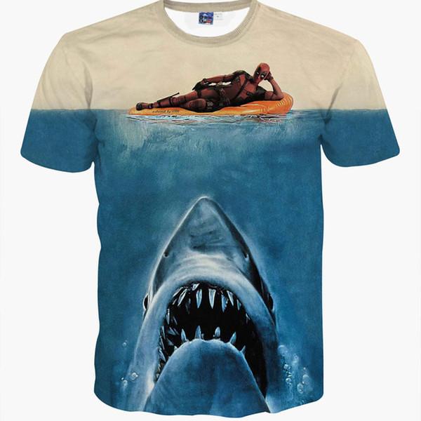 3d animal t shirt printed deadpool t-shirt with shark head blue animal t shirt unisex casual short sleeve top tee shirt homme