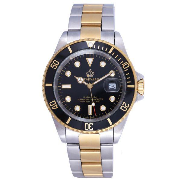Golduhr Männer GMT drehbare Lünette Saphirglas Edelstahl Band Sport Quarz Armbanduhr Reloj Relogio Uhr