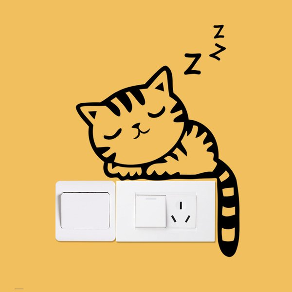 Diy de dibujos animados gato negro perro ratón animales cambiar etiqueta de la pared calcomanía calcomanías para el hogar dormitorio de los niños luz salón decoración interruptor pegatinas