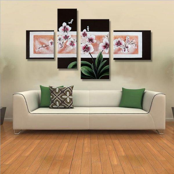 Moderne Décor À La Maison Mur Toile Art 4 Panneau Photos Peint À La Main Abstrait Papillon Fleur Peinture À L'huile À La Main Peintures Florales