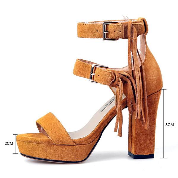 Fanyuan Fringe Gladiator Sandals Women Cow Suede Summer Sandals Woman Block Heels Footwear 2018 Ladies Platform Summer Shoes