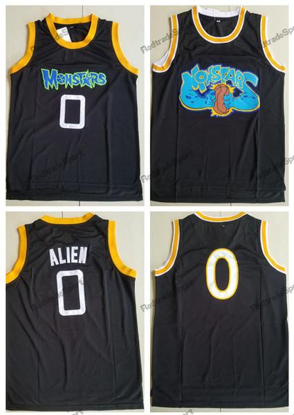 Mens Space Jam # 0 Alien Monstars Tune Squad Camisetas de baloncesto Moive Black Alien Stitched Shirts S-XXL