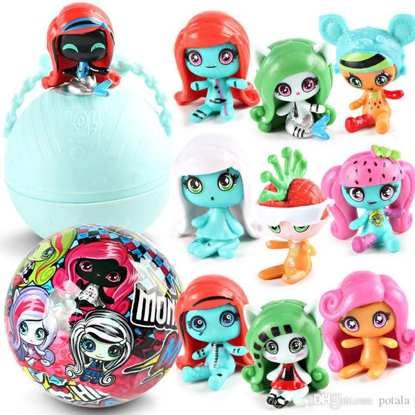 7.5cm Zombie Mini Doll Series 2 LiL Sisters 1PC 4PCS 8PCS Monster Action Figures big Ball Dolls Dress Up Toys for Kids birthday gifts boxes