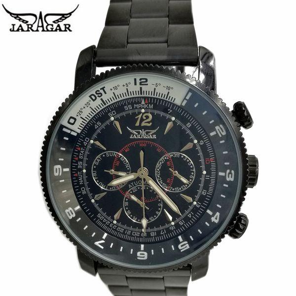 JARAGAR New Number Sport Design Bezel Black Watch Mens Watches Top Brand Luxury Montre Homme Clock Men Automatic Self-wind Watch