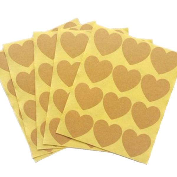 120pcs/10 sheet DIY Gift Packages Label Sticker Blank Kraft Heart Sticker