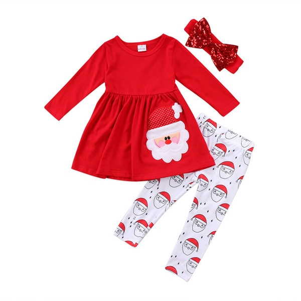 3PCS Christmas Kids Clothing Sets Toddler Baby Girls Tops Dress +Lovely Santa Claus Print Pants +Headband Girls Outfits Set Children Clothes
