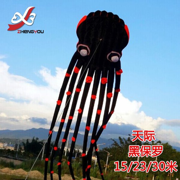 black 3D kitesurf beach weifang sport kite flying eyes octopus large kites toys waterproof nylon fabric soft kite bar windsock