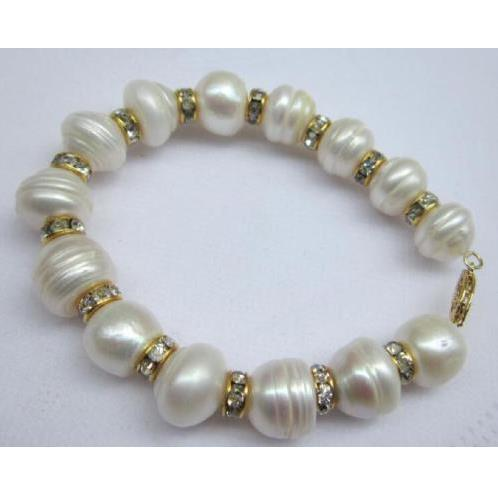 "13x12mm south sea natural white pearl bracelet 7.5-8"" 14K yellow Gold buckle"