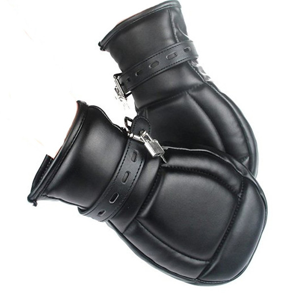 Soft Padded Black PU Leather Bondage Mitts Puppy Mitts Hand Cuffs BDSM Bondage Restraints Mitten With Lock Sex Toys For Couple