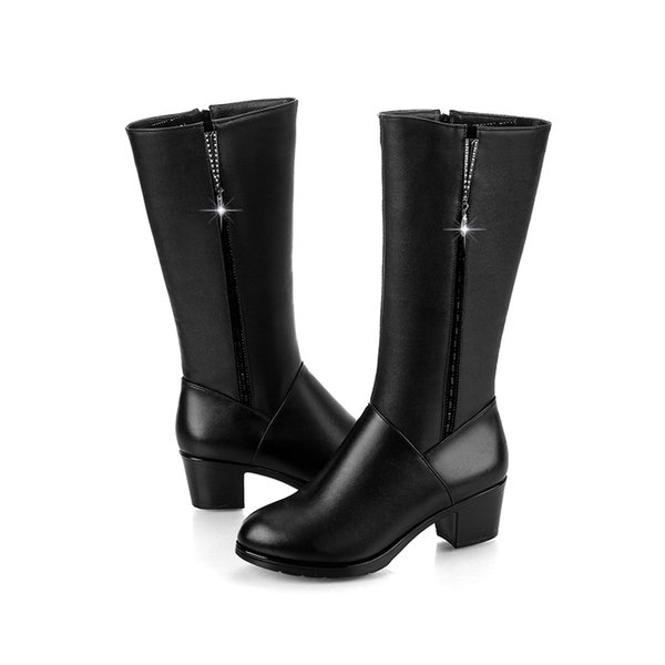 Large Size 35-41 Winter Women Knee-High Boots Crystal Decor 6CM High Hoof Heels Female Shoes Autumn Winter Ladies Western Boots